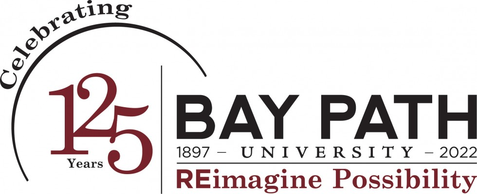 text that says Bay Path University , 125 years, REimagine Possibility