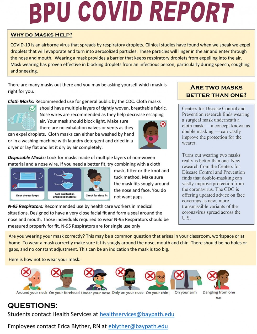 Public Service Announcement regarding mask wearing. Download a PDF version above this image. Text version below this image