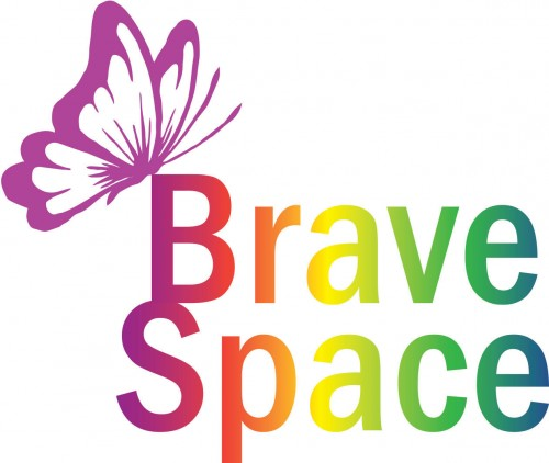 Image of a butterfly along with the words Brave Space representing our University Theme