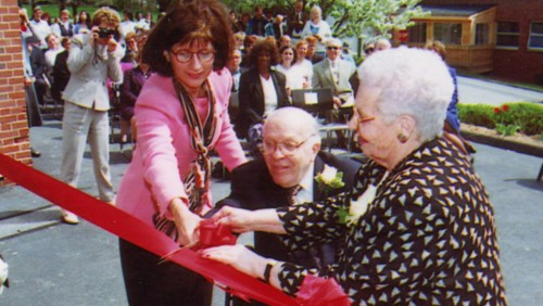 Photo of President Leary joins Big Y co-founder Gerald D'Amour and Jeanne D'Amour '40, a former Bay Path Trustee, at the ribbon cutting.