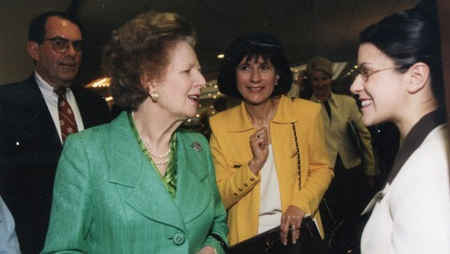 Photo of Lady Margaret Thatcher and Carol Leary