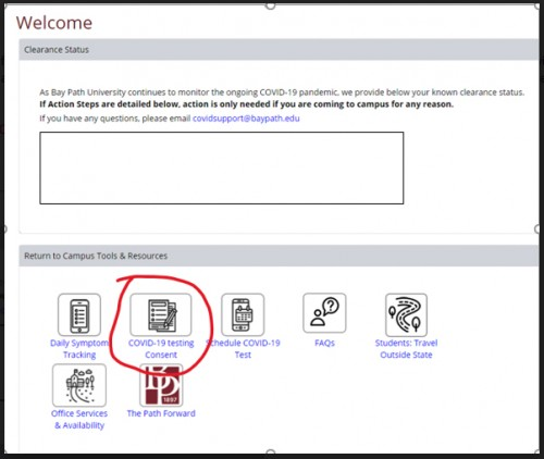image that reads welcome and has the covid-19 testing consent icon circled in red