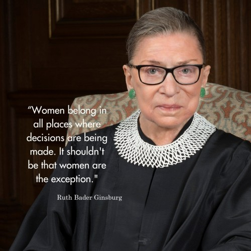 """photo of Ruth Bader Ginsburg with text over it reading """"Women belong in all places where decisions are being made. It shouldn't be that women are the exception."""""""