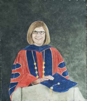 painting of woman with brown hair, glasses wearing graduate regalia.