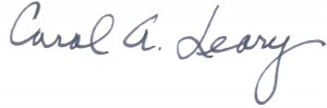 Dr. Carol A. Leary's signature