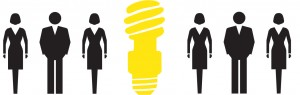 image of yellow light bulb and stick figures of men and women