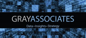 multi colored blue box with text that reads Gray Associates, Data, Insights, Strategy on it.