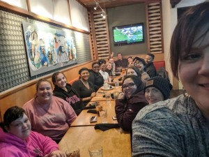 students enjoying dinner during our One America trip 2020
